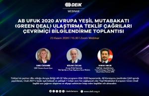 DEİK - AB UFUK 2020 Avrupa Yeşil Mütabakatı Ulaştırma Teklif Çağrıları Çevrimiçi Bilgilendirme Toplantısı, 23 Kasım 2020